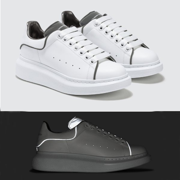 Luxury Designer shoes White sneakers Platform Shoes genuine leather trainers Reflective White trainers for Men Women Flat Casual Shoes