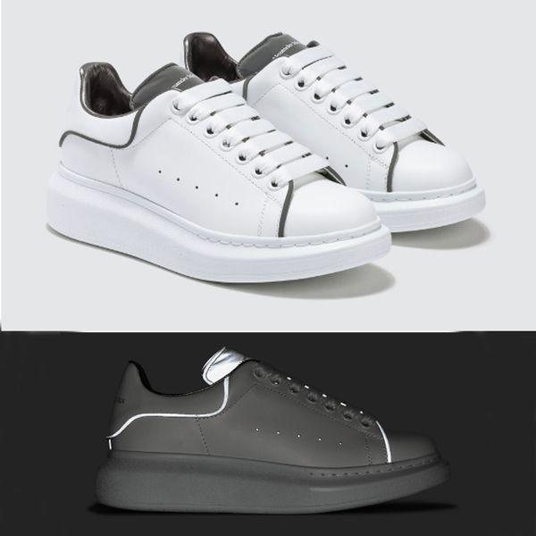 Chaussures de créateurs de luxe Baskets blanches Plateforme Chaussures Baskets en cuir véritable Baskets réfléchissantes blanches pour Hommes Femmes Chaussures de sport plates