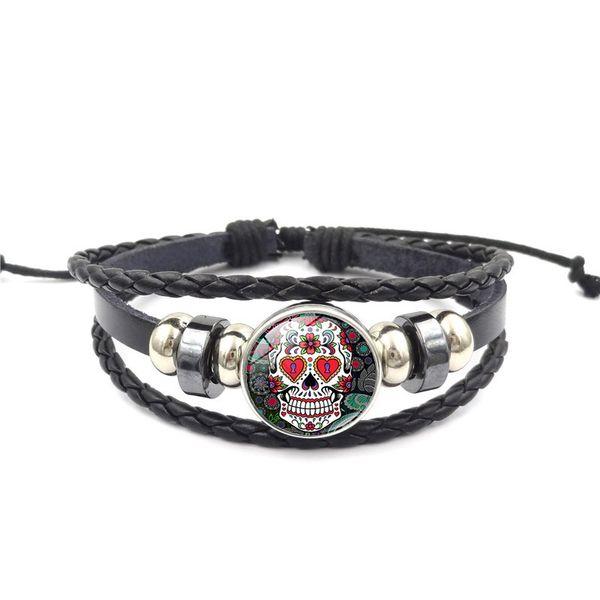 Мексиканский сахар черепа кнопка оснастки браслет 18 мм стекло кабошон имбирь оснастка многослойная плетеный браслет веревка для женщин, мужчин, ювелирные изделия