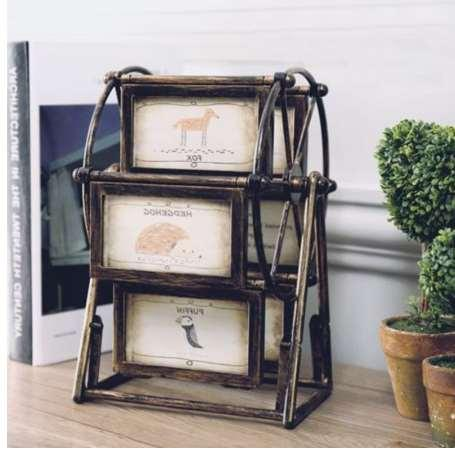 17*25*18cm brand new Bronze Rotating Sky Ferris Wheel Picture Photo Frame Creative Gift Home Decoration High Quality