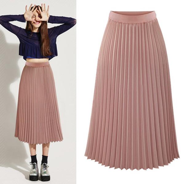 Femmes jupe plissée printemps été mode sauvage casual taille haute jupe bureau dame élégante taille élastique plissée femme