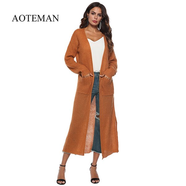 AOTEMAN 9 Colors Autumn Winter Sweater Women Fashion Casual Solid Sweater Jacket Vintage Loose Long Knitted Sweaters Cardigan