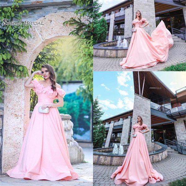 2019 Elegant Pink Aline Prom Dress Off Shoulder With Flowers Sweep High-end Customed Made Vestidos De Novia Party Gown
