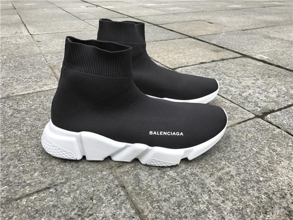2019 Barato Nuevo hombre mujer Speed Trainer Sock Shoes Azul negro blanco rojo brillo Moda plana para hombre Entrenadores Runner tamaño 36-45