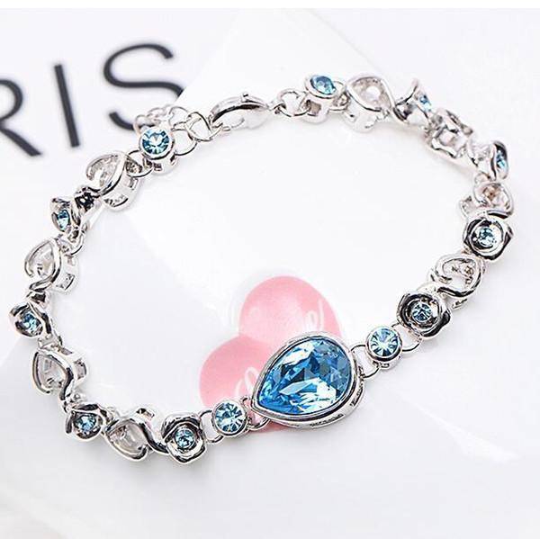 Blue Crystal Heart Rose Charm Bracelets Silver Gold Bracelet bangle Cuffs for Women Fashion Jewelry Gift DROP SHIP 162323
