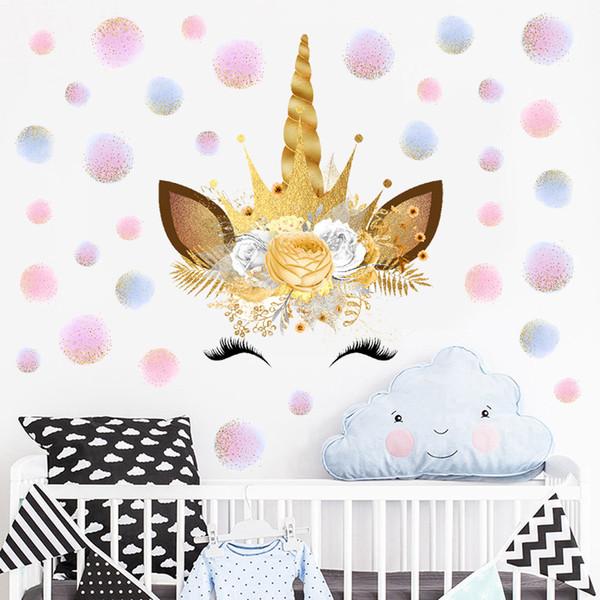 Adesivi Da Parete Per Bambini.Acquista 1 Pz 28 28 Cm Bambini Fiori Unicorno Adesivo Da Parete Bambini Decorazione Della Stanza Del Pvc Home Decor Wall Stickers Design Bambini