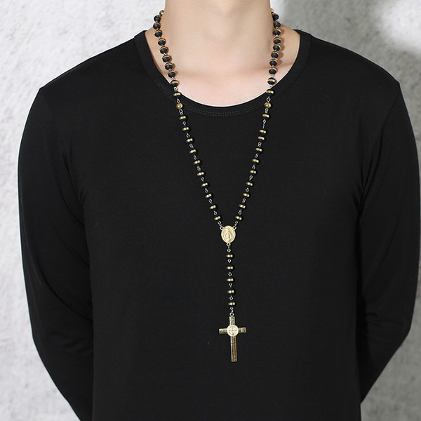 ashion Jewelry Necklace Meaeguet Black/Gold Color Long Rosary Necklace For Men Women Stainless Steel Bead Chain Cross Pendant Women's Men...