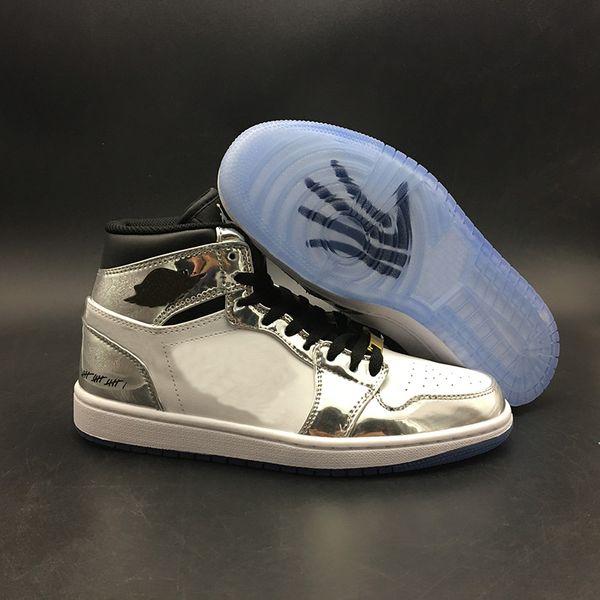 (С Коробкой) Баскетбольная Обувь Pass The Torch 1s Белое Серебро 2018 Новые Мужские Кроссовки Топ Тренеры Размер 7-13