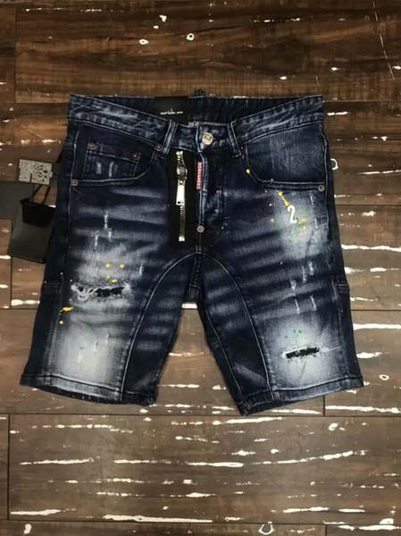 Imagen Real Italia ICON Hombres D2 Ripped Jeans # 9077 Moda Motociclista Motociclista Corto Jean Pantalones de mezclilla Casual Streetwear Agujero Estilo Shorts Jeans