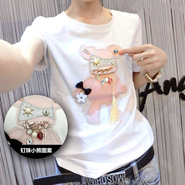 Short Sleeve T-shirt Female Cotton Tops 2017 Spring Students Long Sleeve Basic T Shirt Cartoon Embroidery Bear Slim Women Tshirt J190427