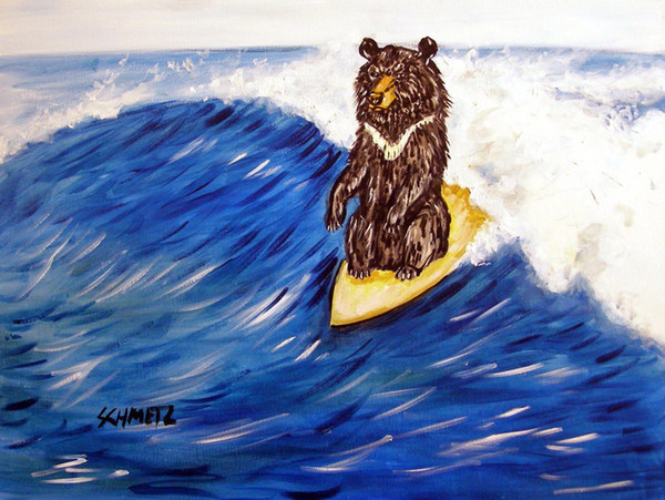Animals Art Bear Surfing, Oil Painting Reproduction High Quality Giclee Print on Canvas Modern Home Art Decor