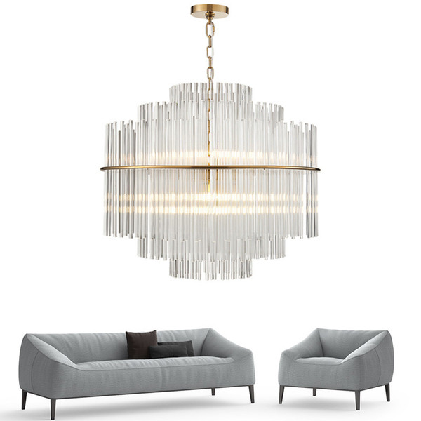 Modern Chandelier Lighting Luxury Living Room Glass Rod Hanging Light Round Luxury Home Decoration Crystal Lamps UPS
