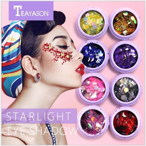 maquillaje Sombra de ojos teayason en sombra de ojos luz de la fiesta fiesta de teyason láser lentejuelas feliz luz de la estrella decoración facial lentejuelas maquillaje