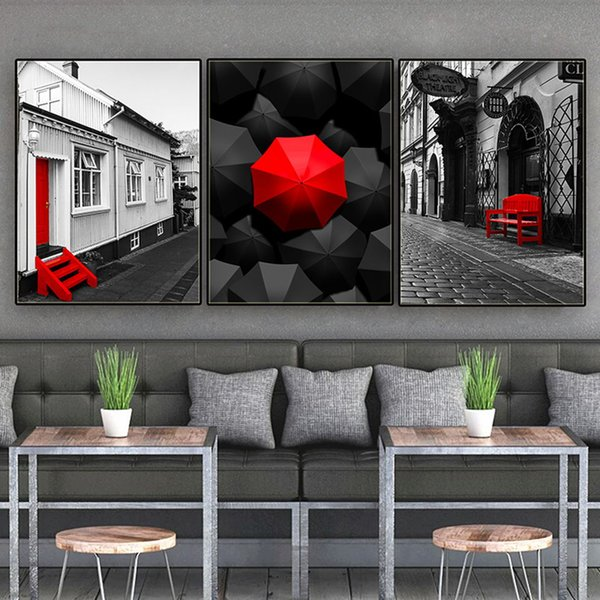 Free shipping Novelty Gift Nordic Street Scenery Red Umbrella Chair Print modern home bar decor Wall Art Canvas Painting Hanging Poster