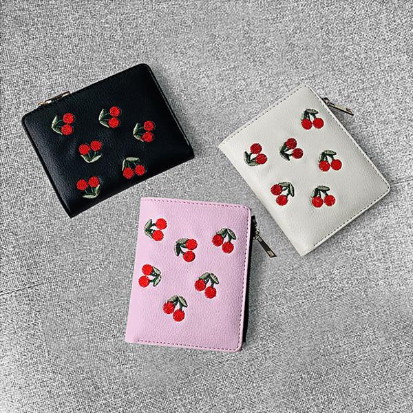 Monedero Monedero Mujer Borla Moda Monedero Mujer Moda Multi-Card Holder Monedero Cherry Bordado Tarjeta Titular Paquete # 0.7