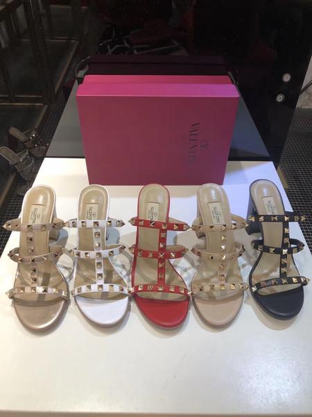 2019 новые популярные женские туфли на высоком каблуке 9.5 см Valen Rivet эспадрильи обувь повседневная сандалии кожаные тапочки вьетнамка 35-41