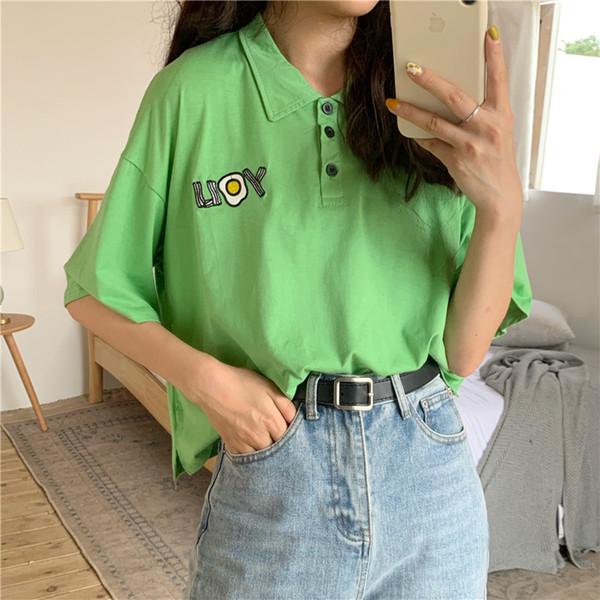 Camicia da donna coreana Lettere ricamate sciolte T-shirt a maniche corte con colletto bianco Ragazza Verde
