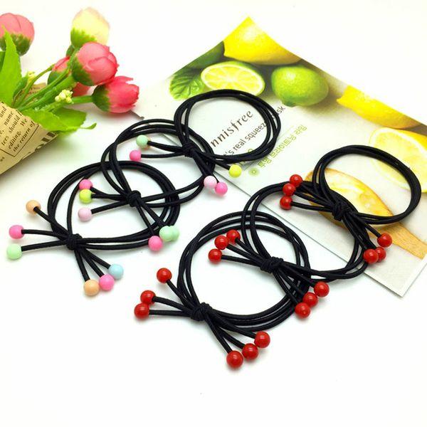 Sıcak Stil Yüksek elastikiyet Saç Kauçuk Bantları Basit Siyah Yay Saç Halatlar Kız Kadınlar için Kırmızı veya Renkli Boncuk Saç Halka