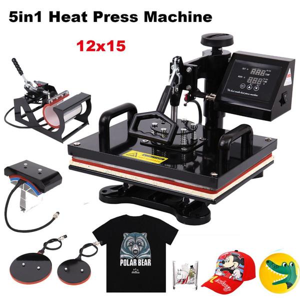 29*38CM 5 in 1 Heat Press Machine Sublimation Printer Swing away Transfer Cloth Cap Mug Plate T-shirt Machine