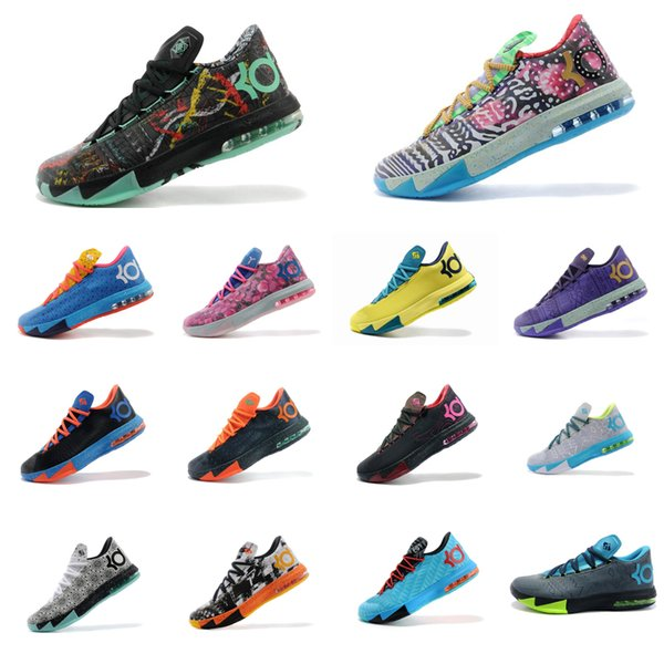 Cheap Men what the KD VI 6 basketball shoes for sale MVP Aunt Pearl Floral Christmas BHM Green Glow Kevin Durant kd6 sneakers boots