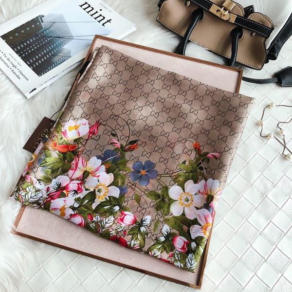 Designer Silk scarf for Women 2019 Spring top Brand Floral Flower Long Scarves size 180x90Cm Shawls gift