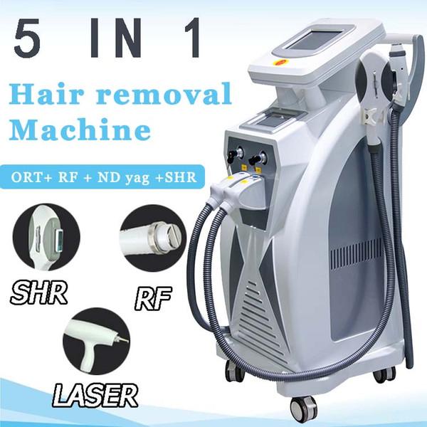 Máquina de eliminación de vello con tatuajes y rejuvenecimiento facial con láser multifuncional Ipl 2019 Elight Opt Shr Rf Nd Yag Láser Ipl