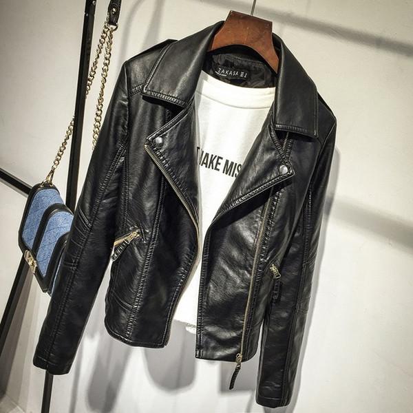 best selling 2019 Spring Casual Jacket Women Long Sleeve Slim Zipper Jacket Fashion PU Turn-down Jacket Outerwear Soft Female Leather Tops Soft PU Leathe
