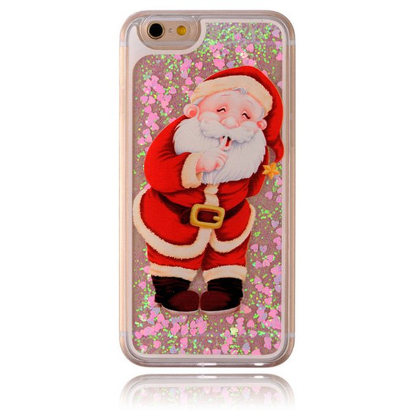 Glitter Christmas Gift Quicksand Back Cover Snowflake Cute Santa Claus Snowman Elk Gift Clear Case for iPhone X 8 Free DHL shipping SCA555