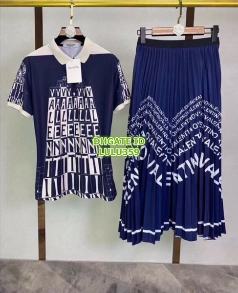 2019 Women Multicolor Letters Print Two Piece Dress Lapel Neck Polo Tee T-Shirt+Long Skirt Girls Casual Two Colors Sets