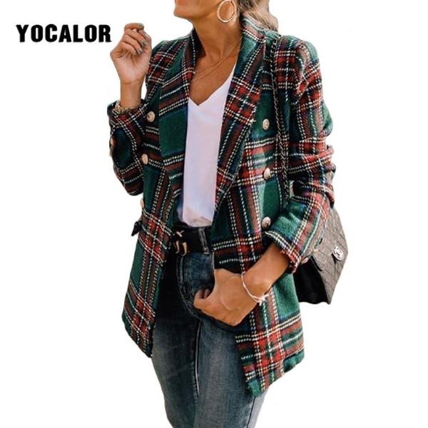 2019 Giacca di tweed scozzese vintage Donna Primavera Streetwear Giacche Manica lunga Cappotto Veste Femme Autunno Chaqueta Donna Abbigliamento Tunica Y190829