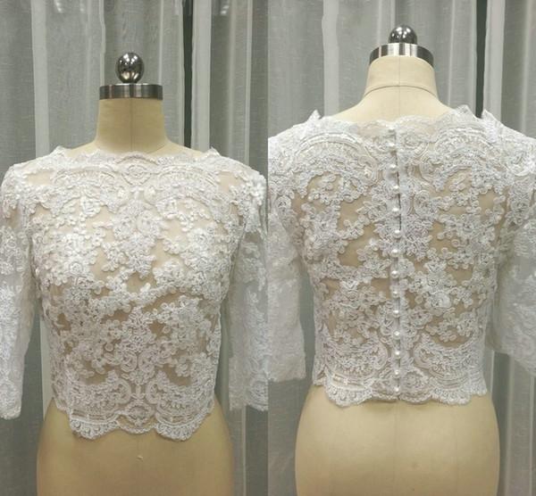 In Stock Lace Wedding Jackets For Women 3/4 Long Sleeve Lace Bolero Bateau Pearls Wedding Jacket Plus Size