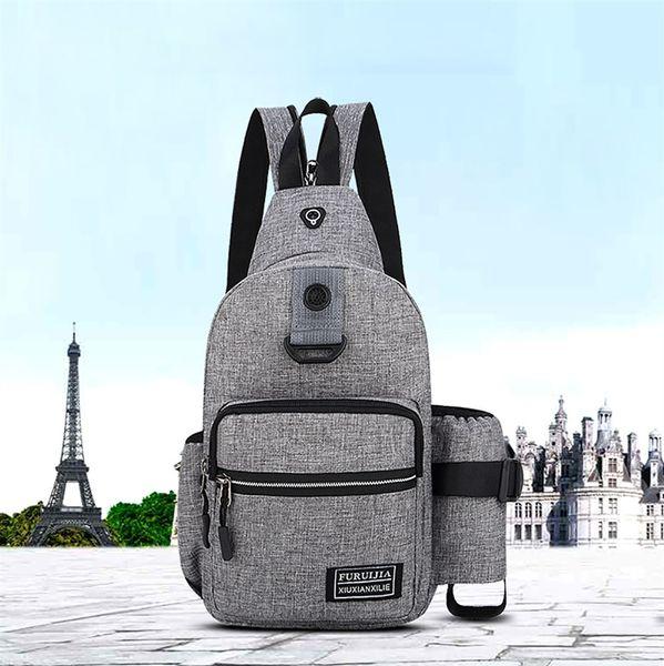 Men Oxford Zipper Versatile Cloth Chest Bag Wild Small Bag Fashion Solid Pockets Soft Handle Backpacks#ZS #318614