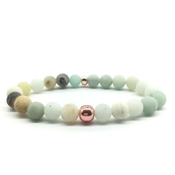 jolis bracelets en pierre naturelle Amazon perle givrée Bracelet Amazonite Mala Perles Pulsera Reiki Bijoux pour Femmes Hommes Bracelets Perlés