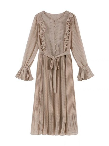 Spring and Autumn New Fairy Court Wind Lotus Edge Point Button Chiffon Dress Female Pleated Skirt