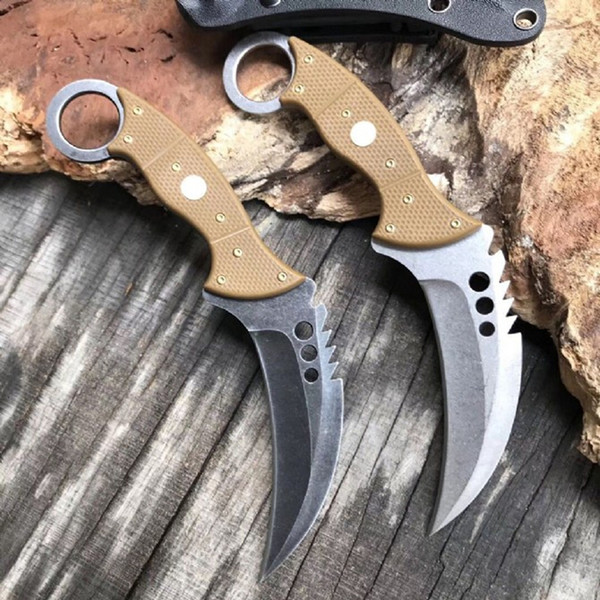 Promotion CSGO Karambit 9Cr18Mov Stone Wash Blade G10 Handle Fixed Blade Claw Knife Tactical Knives With Kydex