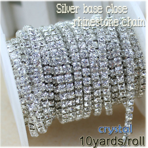 10yards/roll Clear Crystal SS6-SS16(2mm-4mm) Silver Base Copper Cup Rhinestone Chain Apparel Sewing Style diy Beauty Accessories
