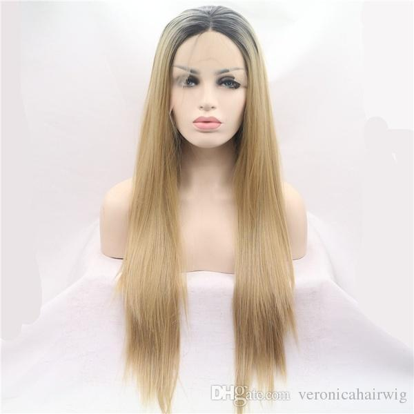 Natural Hairline Ombre Blonde Long Straight Lace Front Wig Heat Resistant Fiber Dark Roots Synthetic Hair Glueless Wigs For Black Women