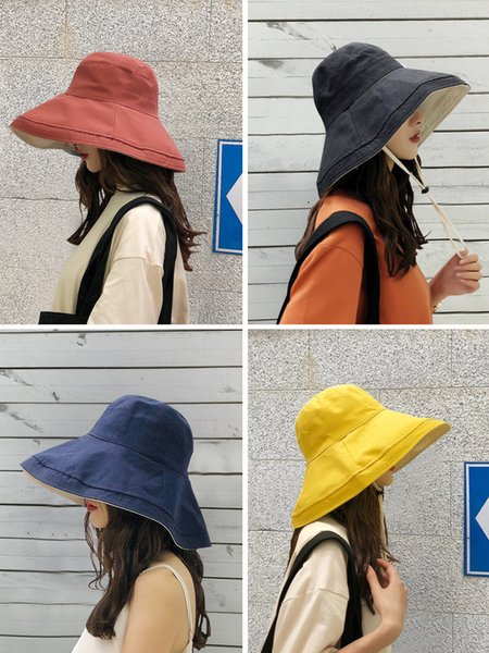 2019 anti-UV wide Brim cotton linen sun hat for women vacation summer panama foldable bucket hat large brim korean beach sun