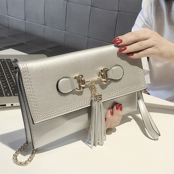 female pu handbag feminina casual crossbody bags for women temperament tasseled envelope handbag ladies day clutches bag yy-29