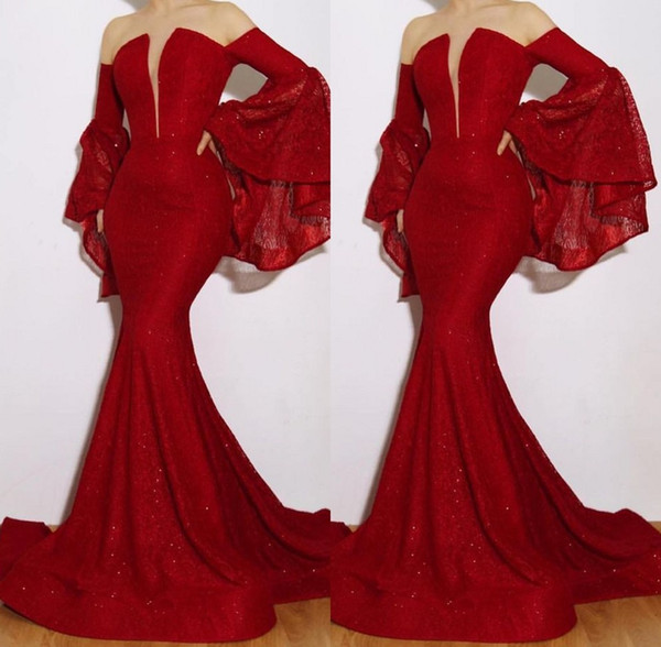 Luxury Red Mermaid Prom Dresses Long Sleeves New 2019 Sequin Beaded Sweetheart Formal Evening Gowns Sexy Strapless Engagement Dress
