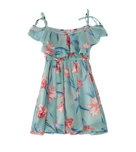 2019 new girls flower skirt Korean fashion chiffon strap strapless dress Cute beach skirt Suitable for 3-12 years old