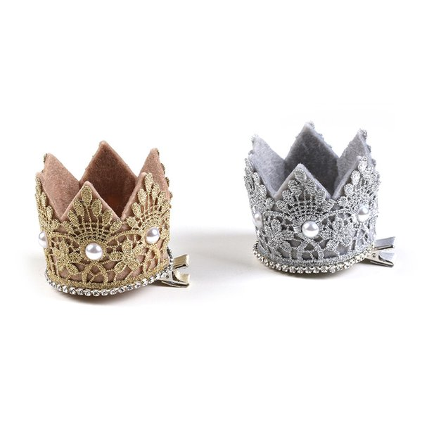 10 unids Anillo Portador Corona Clips para el Cabello Príncipe Royal Style Kids Brillos para el Cabello Shinning Crystal Luxury Crown Girls Headwear Príncipe