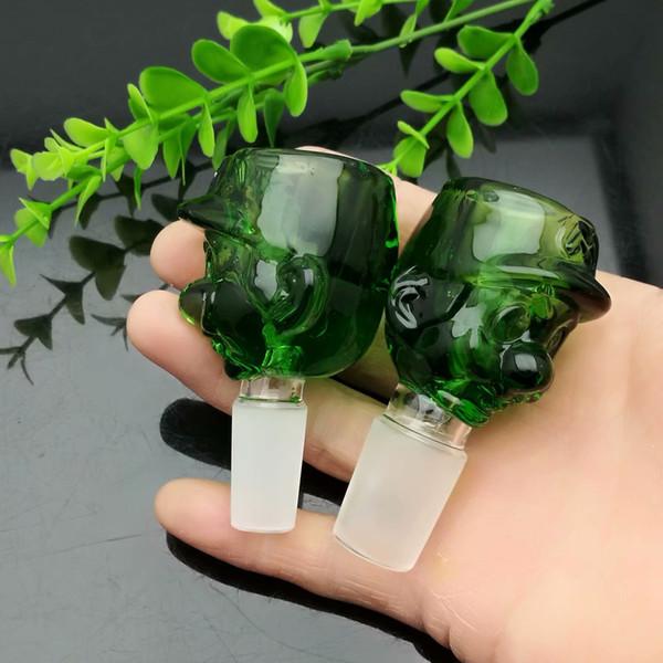 Green Cartoon Graphic Glass Converter Bubble Head Venta al por mayor Tubería de agua de vidrio Accesorios de tabaco Tabaco de vidrio