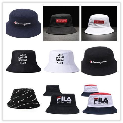 68a272deea8 Free Shipping filaes brand bucket hat Designer Leather Letter Bucket Hat  Foldable Caps Black Fisherman Beach
