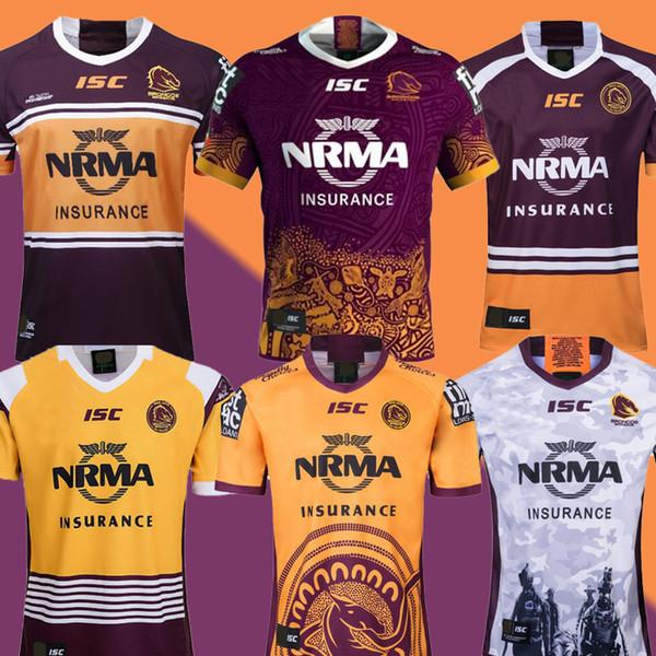 2019 Australien Brisbane Broncos Rugby Trikot Brisbane Broncos Anzac 2019 Männer Indigenous Trikots Australien NRL Rugby League Trikot