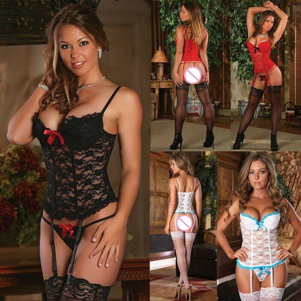 best selling Women Lace Sexy Lingerie V Neck Top Nightwear Underwear G-string Babydoll Sleepwear Exotic Sets(Not include Stockings)