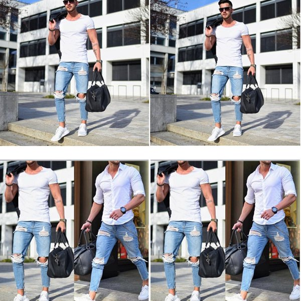 Hot 2019 European and American high quality men's skinny jeans light color hole pants NK1090 tight-fitting trousers