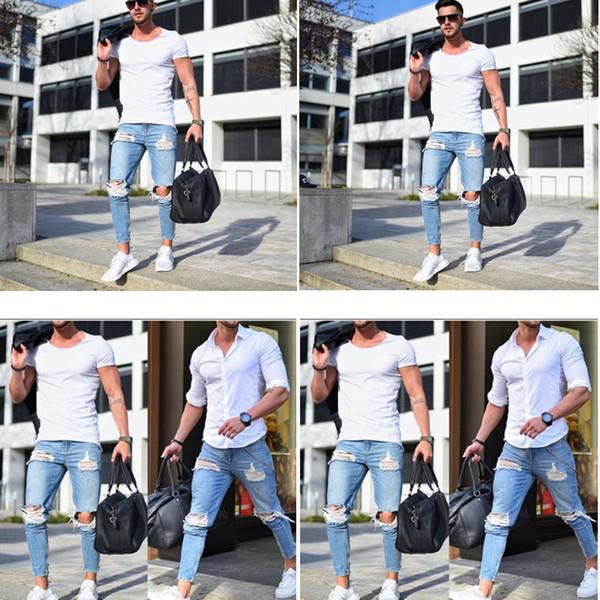 Горячая 2019 Европейский и американский высокое качество мужские узкие джинсы светлый цвет отверстие брюки NK1090 обтягивающие брюки