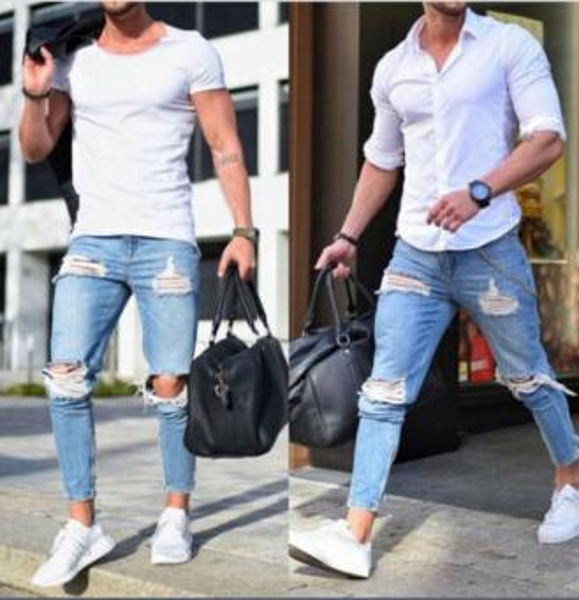 2019 Mens Pants Fashion Denim Blue Jeans Vintage Slim Long Pencil Pants with Ripped Holes Free Shipping Wholesale