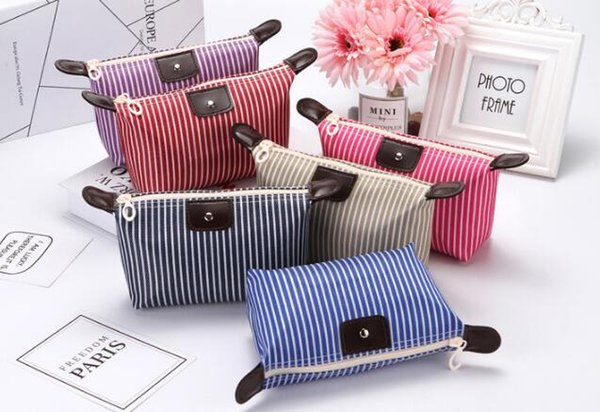 best selling Fashion Large capacity collapsible Striped makeup bag Unisex Portable Cosmetic Organizer Candy color Waterproof travel sport bags